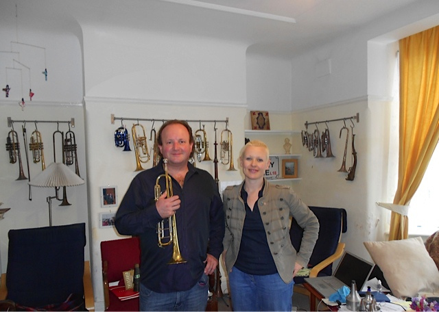International award winning composer Ailis Ni Riain & Brendan working on acclaimed solo trumpet Music theatre pice 'TREASURED'