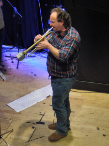 Brendan rehearsing at Band On The Wall for the world premiere of 'The Consequences Of Falling' by Ailis Ni Riain - for solo trumpet and double bass.