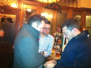 Joe (Paul McCartney) Stlgoe, drummer Matt Skelton & conductor John Wilson enjoying a pint after work...