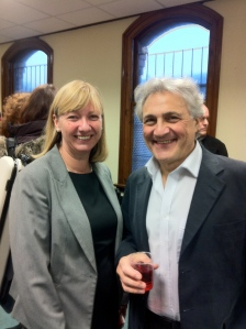 John Suchet and RLPO Director of Planning Sandra Parr at the post recording party