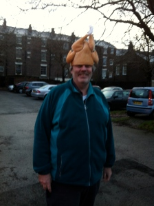 RLPO Concertmeister Jim Clark wearing a turkey on his head!