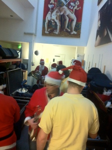 The brass section getting ready for the 'Frosty' shows