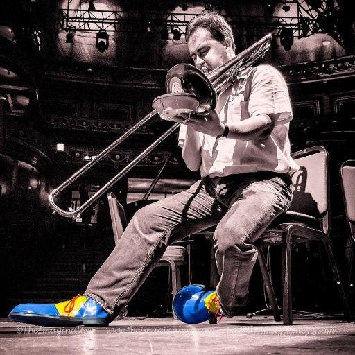 Byron Fulcher as Grock rehearsing Berio Sequenza V for London Sinfonietta prom - phot by Pip Eastop