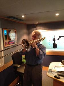John Suchet, having a blow in the Classic fm studio!