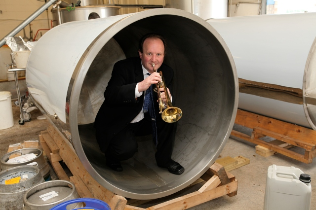 Brendan playing in the new 'large' fermenter at Liverpool Organic Brewery