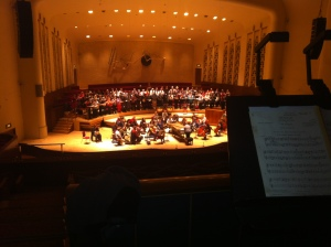 The view from the 'offstage' trumpet position