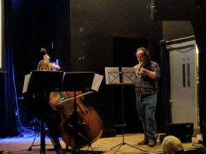Me and Heather, rehearsing. Ailis's head in the foreground