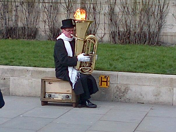 Crazy busker in Trafalgar Square, London