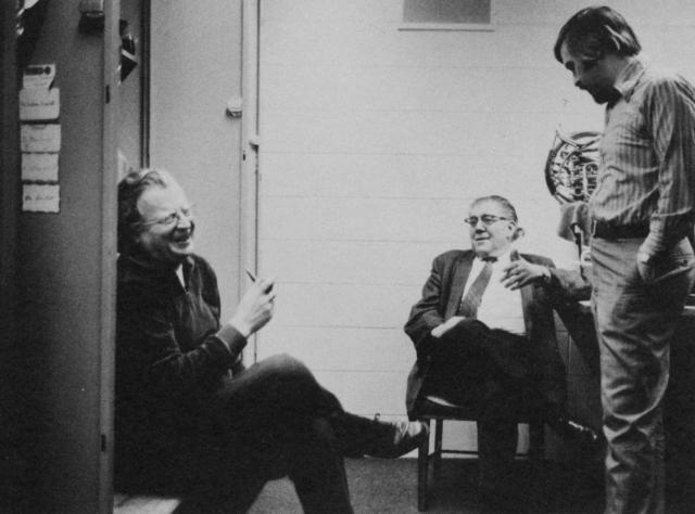 Bud Herseth, Arnold Jacobs and dale Clevenger, pictured backstage at Symphony Hall, Chicago