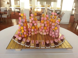 Macaroon towers for the launch of the new season at Liverpool Philharmonic Hall