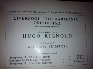Alan's first concert programme with the orchestra.