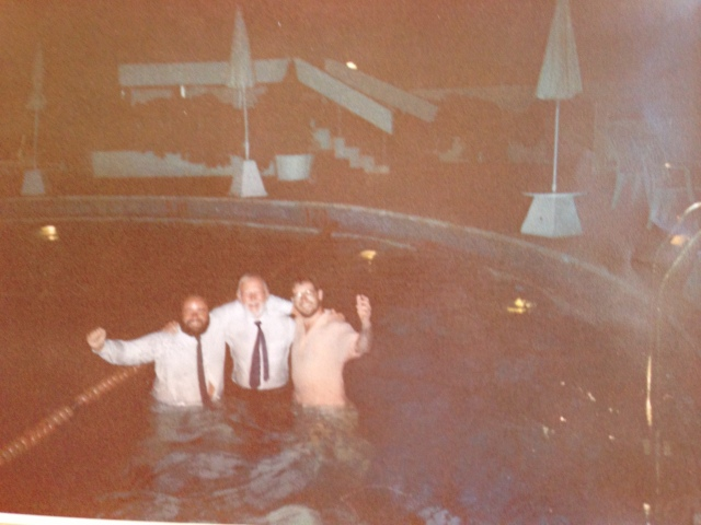 RLPO Trumpet Section Istanbul mid 1980s. Des Worthington, Ian Balmain and Alan Stringer going for a swim!