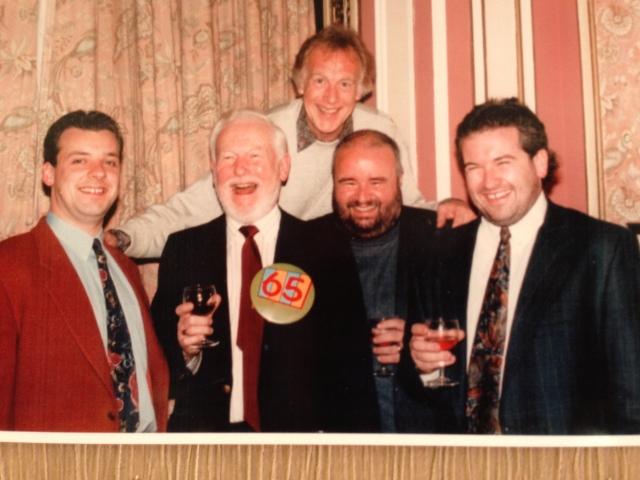 Alan's 65 birthday - l to r- Rhys Owens, Alan, Stuart Hastain, Des Worthington and Ian Balmain