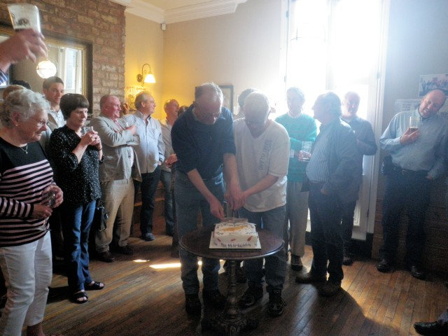 More cake cutting from Jim & Malcolm Stringer
