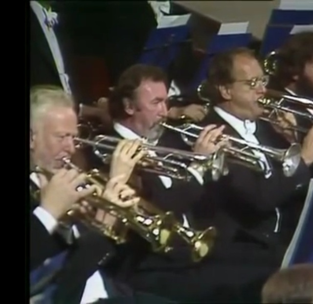 Alan Stringer playing with the LSO again in 1982 in the Verdi Requiem at the Edinburgh Festival. Also pictured are Maurice Murphy and Denis Wick