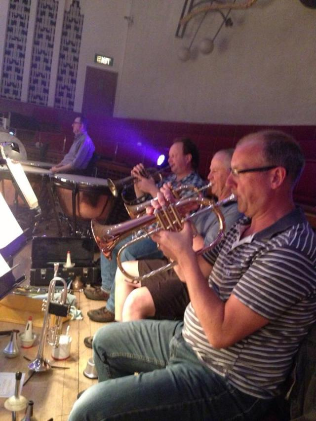 RLPO trumpet section playing flugels