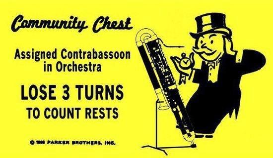 An all too rare contra-bassoon gag!