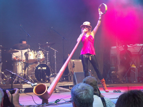 Eliana Burki playing the alphorn