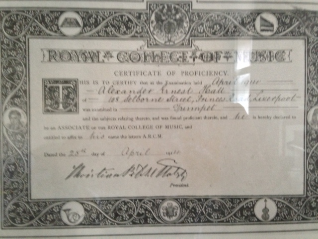 Ernest Hall's certificate of trumpet proficiency!