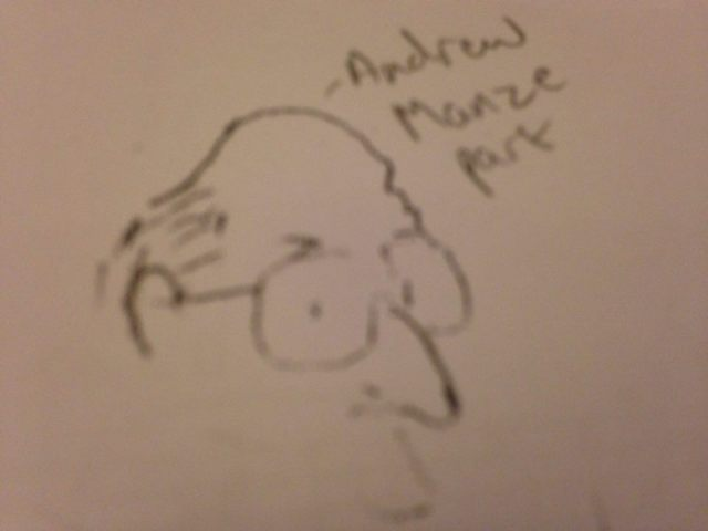 A cartoon on the 1st trumpet part of Andrew Manze's own set of Beethoven 3. Not a bad likeness!