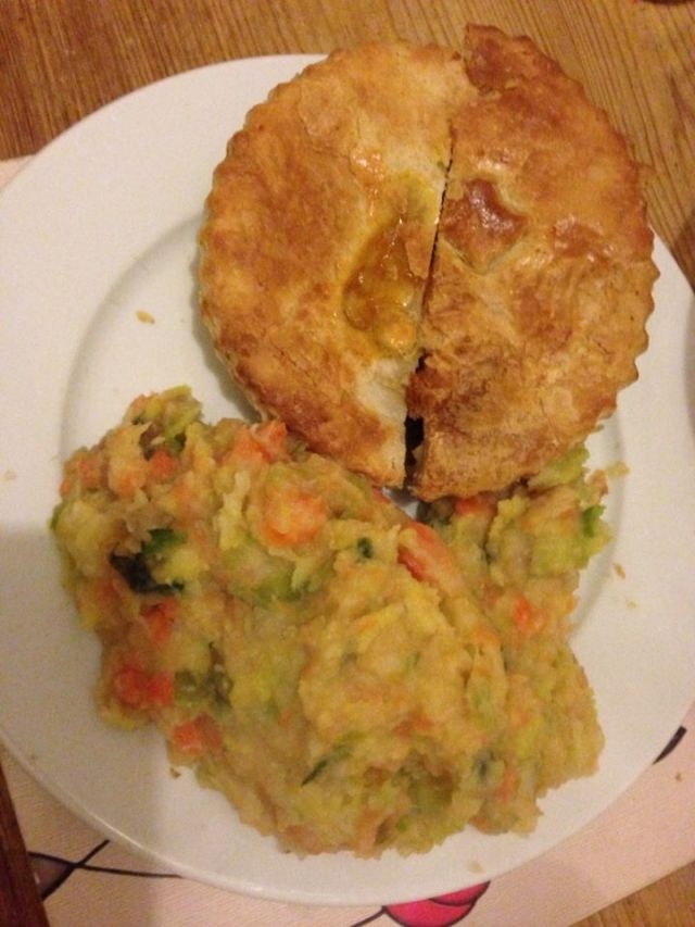 Here's the pie from Sweeney's - back in Liverpool with mashed root veg. on 'Burns Night'.