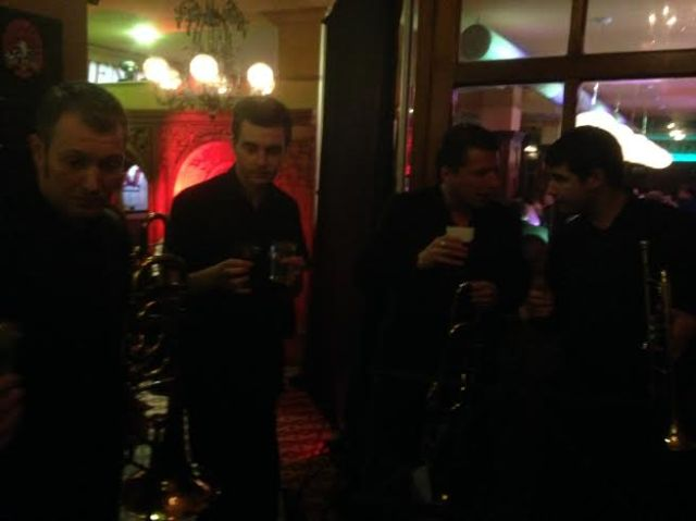 RLPO Brass having a quick livener, after the 'match'. On the left is on-loan super trumpeter, Will Morley!
