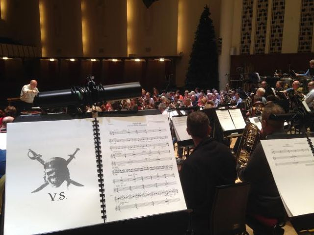 Richard Kaufman and the Royal Liverpool Philharmonic Orchestra, rehearsing 'Pirates of the Caribbean.'.