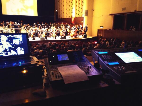View from Richard Curtis' sound desk