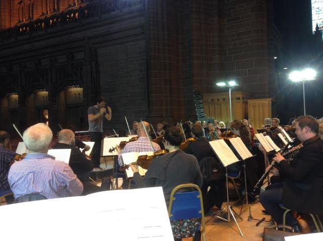 RLPO rehearsing for the premiere of Michael Nyman's new 'Hillsborough Symphony'.