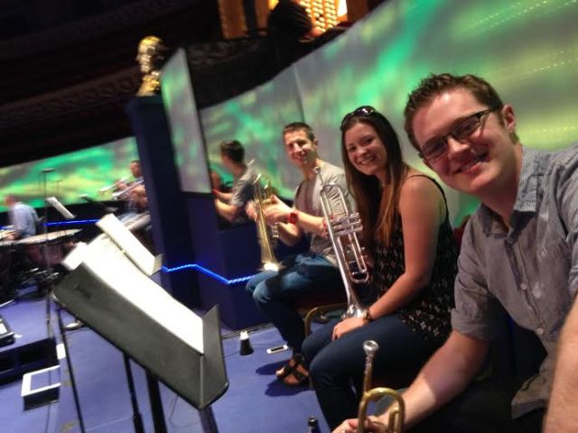 The six 'extra' trumpets placed behind the orchestra for the Festliches Praeludium