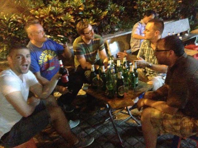 RLPO players enjoying a rare night off on tour