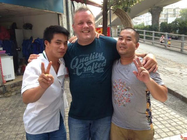 Jools Mottram just saying goodbye to the workers at our favourite Guangzhou eaterie prior to catching the coach for the next leg of our journey