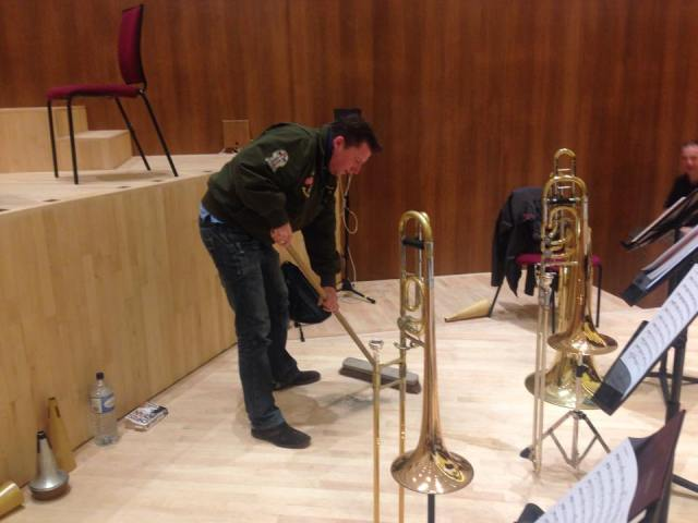 RLPO Principal Trombone Simon Cowen preparing for the reopening of the newly refurbished Liverpool Philharmonic Hall