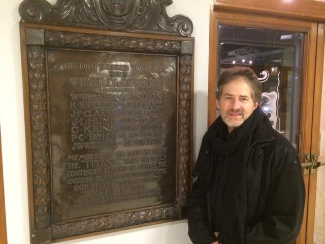 James Horner pictured by our Titanic plaque at The Phil. The musicians on the fateful liner were recruited from Liverpool and I believe at least four had previously played in the RLPO.