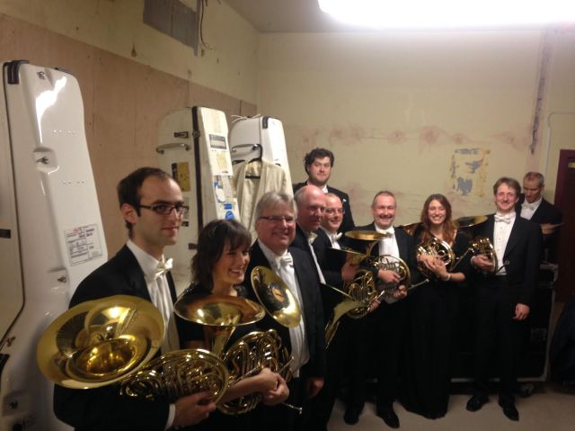 The Symphonia Domestica French Horns pictured in our sumptuous backstage area after the gig!