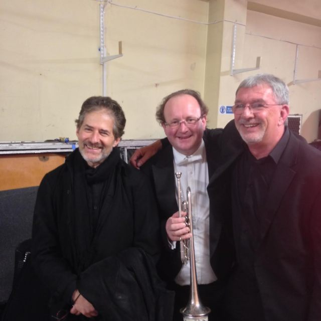 Hollywood legend James Horner, me and platform manager Alan Scollins backstage immediately after the Tchaikovsky performance, which received a standing ovation.