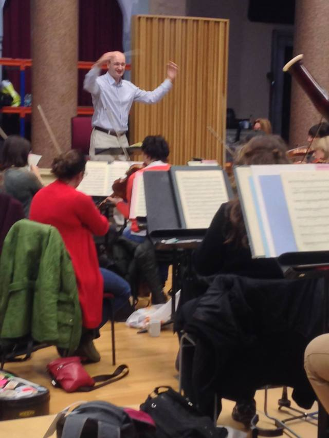 Andrew Manze conducting the RLPO in rehearsal.