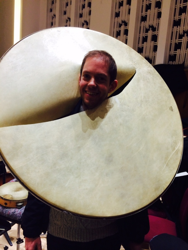 Accidents will happen! RLPO Principal Percussion Henry Baldwin during rehearsals for The Rite Of Spring!