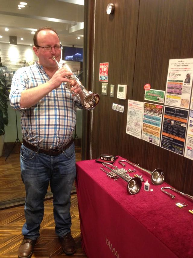 Brendan trying out a good selection of Yamaha 9610 D & E flat trumpets!
