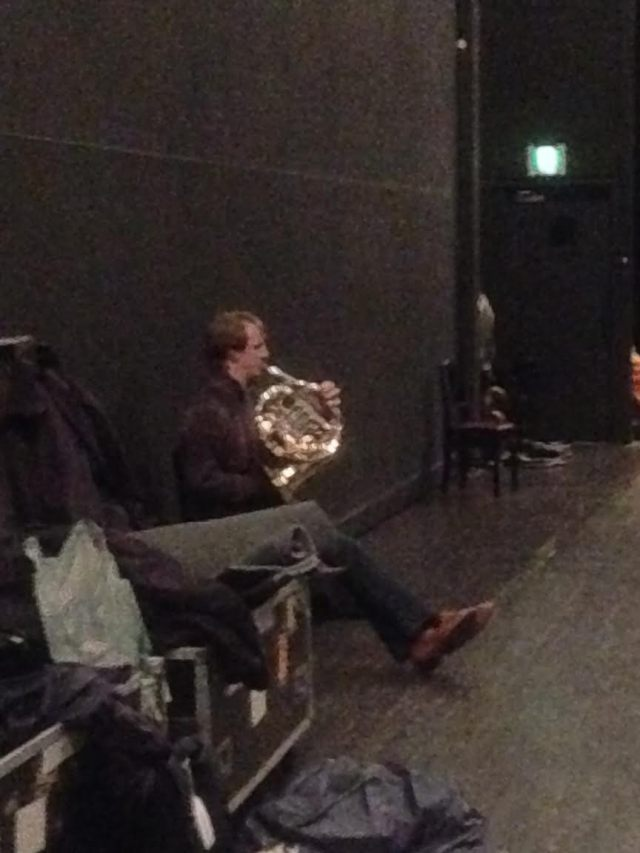 Section Leader Horn Tim Jackson limbering up for the tricky solos in Shostakovich 10