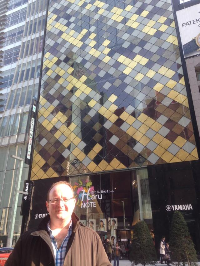 Brendan outside Yamaha Ginza - the flagship store.