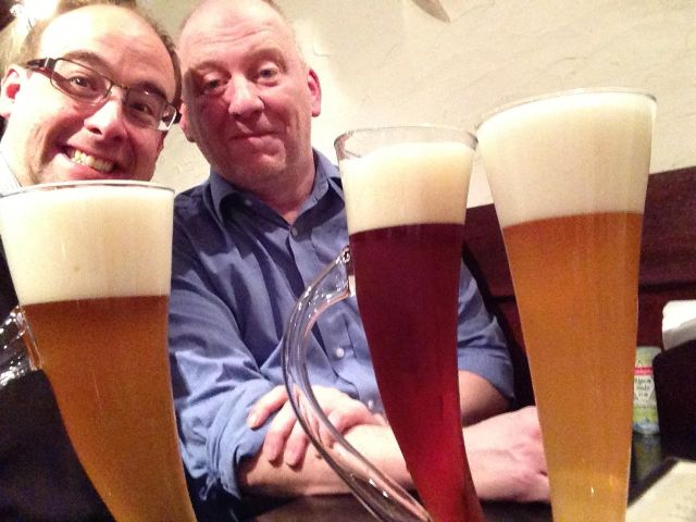 RLPO Bass Anthony Williams & RLPO Horn player Tim Nicholson in the Horn Bar in Tokyo