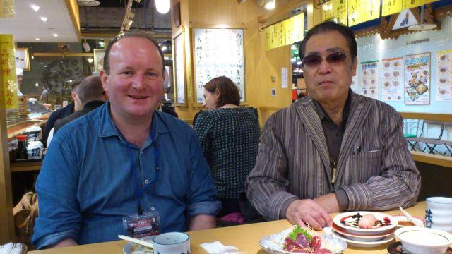 My father-in-law Tadahiro Tanigawa-san and I enjoying some sushi