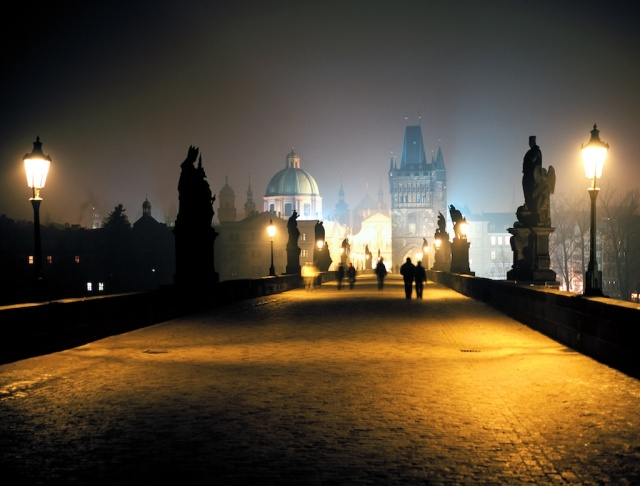 The Charles Bridge, Prague, at night.