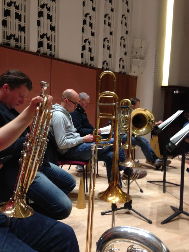 The RLPO trombone & tuba section, like coiled springs during the Czech Tour rehearsals.