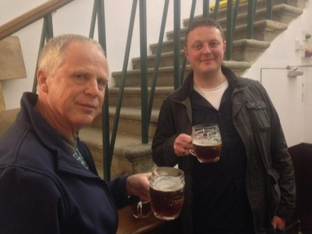 Paul Marsden and Dave Hooper - 2nd and third trumpets enjoying the beer brewed on the premises at u Medvidku