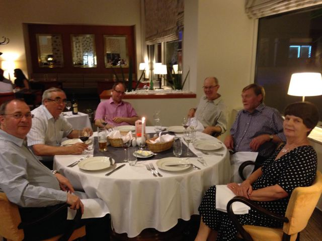 A fine assemblage for a fine dining experience in the Imperial Hotel. From left: Dave Pigott, Danny Hammerton, Anthony Williams, Richard Lewis, and John & Celia Hebbron