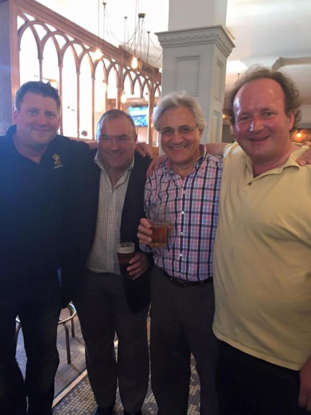 Four Chat Brass members including our new Honorary President John Suchet, star of Classic fm, who plays trombone with the band.